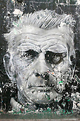 Irish writer Samuel Beckett Mural off Portobello Road Market in London