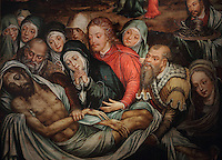 The Lamentation of Christ, painting, 1570-1580, by Bernardo Manuel, in the Museu Nacional de Machado de Castro, Coimbra, Portugal. The museum was opened in 1913 and renovated 2004-2012. The city of Coimbra dates back to Roman times and was the capital of Portugal from 1131 to 1255. Its historic buildings are listed as a UNESCO World Heritage Site. Picture by Manuel Cohen