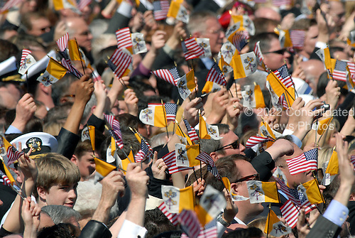 "Washington, DC - April 15, 2008 -- United States and Holy See flags wave as the Marine Band plays ""Happy Birthday"" in honor of Pope Benedict XVI's 81st birthday at the White House in Washington, D.C. on Wednesday, April 16, 2008.  .Credit: Ron Sachs / CNP.(RESTRICTION: NO New York or New Jersey Newspapers or newspapers within a 75 mile radius of New York City)"