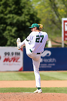Beloit Snappers pitcher Michael Danielak (27) delivers a pitch during a Midwest League game against the Cedar Rapids Kernels on June 2, 2019 at Pohlman Field in Beloit, Wisconsin. Beloit defeated Cedar Rapids 6-1. (Brad Krause/Four Seam Images)