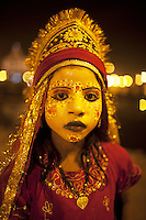 India. Uttar Pradesh state. Allahabad. Maha Kumbh Mela. A young homeless beggar dressed as a godess. The Kumbh Mela, believed to be the largest religious gathering is held every 12 years on the banks of the 'Sangam'- the confluence of the holy rivers Ganga, Yamuna and the mythical Saraswati. The Maha (great) Kumbh Mela, which comes after 12 Purna Kumbh Mela, or 144 years, is always held at Allahabad. Uttar Pradesh (abbreviated U.P.) is a state located in northern India. 13.02.13 © 2013 Didier Ruef