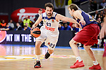 Real Madrid's Sergio Llull and FC Barcelona Lassa's Petteri Koponen duringTurkish Airlines Euroleague match between Real Madrid and FC Barcelona Lassa at Wizink Center in Madrid, Spain. March 22, 2017. (ALTERPHOTOS/BorjaB.Hojas)
