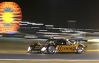 The #16 Penske Racing Porsche Riley races at night during the Rolex 24 at Daytona , Daytona International Speedway, Daytona Beach, FL, January 2009.  )Photo by Brian Cleary)