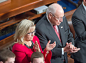 Former United States Vice President Dick Cheney, right, and his daughter, US Representative Liz Cheney (Republican of Wyoming), left, applaud as they listen to the speeches on the floor of the US House of Representatives on the first day of the 115th Congress in the US Capitol in Washington, DC on Tuesday, January 3, 2017.  Ms. Cheney was elected in November 2016 to the seat formerly held by her Dad.<br /> Credit: Ron Sachs / CNP<br /> (RESTRICTION: NO New York or New Jersey Newspapers or newspapers within a 75 mile radius of New York City)