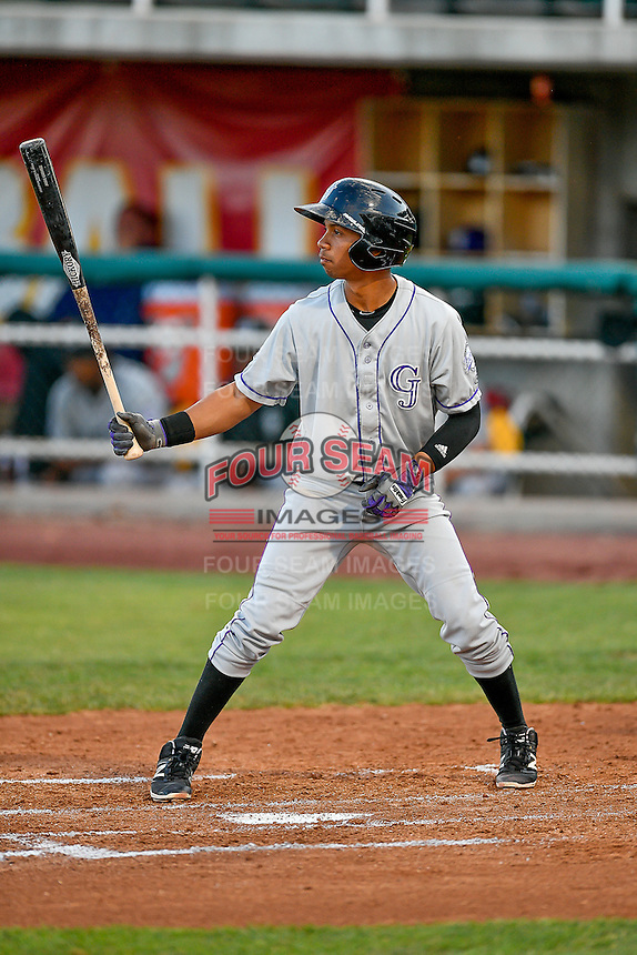 Jose G. Rodriguez (13) of the Grand Junction Rockies at bat against the Orem Owlz in Pioneer League action at Home of the Owlz on July 6, 2016 in Orem, Utah. The Rockies defeated the Owlz 5-4 in Game 2 of the double header.  (Stephen Smith/Four Seam Images)