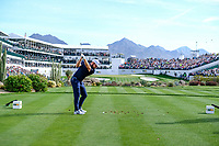 Tyrrell Hatton (ENG) on the 16th tee during the 1st round of the Waste Management Phoenix Open, TPC Scottsdale, Scottsdale, Arisona, USA. 31/01/2019.<br /> Picture Fran Caffrey / Golffile.ie<br /> <br /> All photo usage must carry mandatory copyright credit (© Golffile | Fran Caffrey)