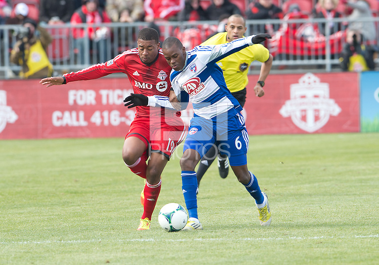 06 April 2013: FC Dallas defender/midfielder Jackson #6 battles for a ball with Toronto FC midfielder Reggie Lambe #19 during an MLS game between FC Dallas and Toronto FC at BMO Field in Toronto, Ontario Canada..The game ended in a 2-2 draw..
