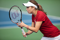 STANFORD, CA - April 14, 2011: Natalie Dillon of Stanford women's tennis during Stanford's dual against St. Mary's. Stanford won 6-1.