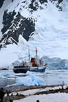 MV Ushuaia, anchored at Port Lockroy, Antarctica Peninsular