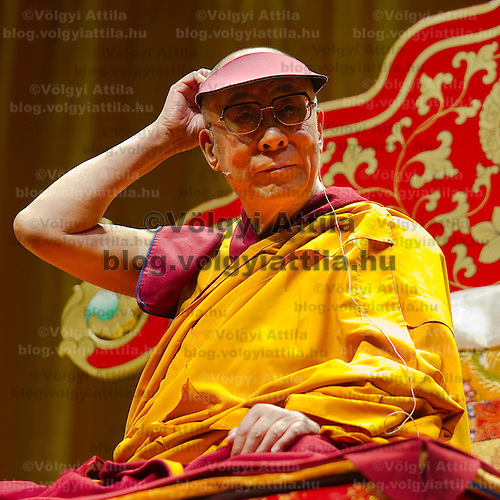 Exiled buddhist spiritual leader Tenzin Gyatso the 14th Dalai Lama is seen during his lecture about Tibetan Buddhism in Budapest, Hungary, Saturday, 18. September 2010. ATTILA VOLGYI
