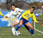 SIOUX FALLS, SD - NOVEMBER 7:  Genna Joyce #19 from NDSU battles for the ball with Nicole Hatcher #10 from SDSU in the first half of the Summit League Championship Soccer match Saturday at Fischback Soccer Field in Brookings. (Photo by Dave Eggen/Inertia)