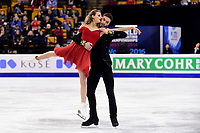 Wednesday, March 30, 2016: Gabriella Papadakis and Guillaume Cizeron (FRA) skate in the short dance event at  the International Skating Union World Championship held at TD Garden, in Boston, Massachusetts. Eric Canha/CSM