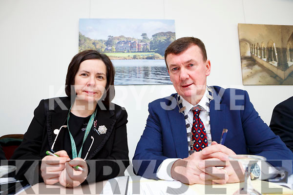 Kerry County Council Chairman John Sheahan and Chief Executive Moira Murrell  in Killarney House for the Council's December meeting on Monday