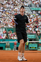 Andy Murray (GBR) (3) against Marin Cilic (CRO) (13) in the fourth round of the Men's Singles, Murray beat Cilic 7-5 7-6 6-1..Tennis - French Open - Day 8 - Sun 31st May 2009 - Roland Garros - Paris - France..Frey Images, Barry House, 20-22 Worple Road, London, SW19 4DH.Tel - +44 20 8947 0100.Cell - +44 7843 383 012