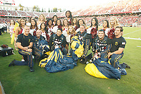 Stanford-October 10, 2014: Navy Leap Frogs and cheerleaders before the Stanford vs. Washington State game Friday night at Stanford Stadium.<br /> <br /> The Cardinal defeated the Cougars 34-17.