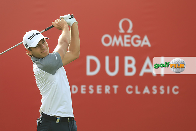 Joakim Lagergren (SWE)in action during the first round of the Omega Dubai Desert Classic, Emirates Golf Club, Dubai, UAE. 24/01/2019<br /> Picture: Golffile | Phil Inglis<br /> <br /> <br /> All photo usage must carry mandatory copyright credit (&copy; Golffile | Phil Inglis)