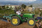 ALBANIA, Berat , farmer Agim Metka and son Engiell with new John Deere Tractor  / ALBANIEN, Berat, Landwirt Agim Metka, sein Sohn Engiell mit neuem John Deere Traktor