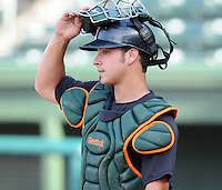 August 13, 2009: Catcher Torre Langley (2) of the Greensboro Grasshoppers, Class A affiliate of the Florida Marlins, in a game at Fluor Field at the West End in Greenville, S.C. Photo by: Tom Priddy/Four Seam Images
