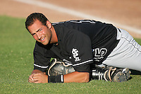 Aaron Lowenstein of the San Jose Giants during game against the High Desert Mavericks at Mavericks Stadium in Adelanto,California on June 16, 2010. Photo by Larry Goren/Four Seam Images