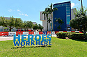 PEMBROKE PINES, FL - May 08: General view of Memorial Hospital West with a sign read 'Heroes work here' before The U.S. Navy Blue Angels fly over Broward County Memorial Hospital West and C.B. Smith Park test site for COVID-19 on May 08, 2020 in Pembroke Pines, Florida. The Blue Angels took to the sky to pay tribute to the COVID-19 front line responders and essential workers with formation flights.  ( Photo by Johnny Louis / jlnphotography.com )