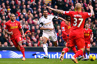 Sunday, 23 February 2014<br /> Pictured: Swansea City's David Ngog<br /> Re: Barclay's Premier League, Liverpool FC v Swansea City FC v at Anfield Stadium, Liverpool Merseyside, UK.