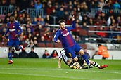 7th January 2018, Camp Nou, Barcelona, Spain; La Liga football, Barcelona versus Levante; Messi from FC Barcelona is fouled from behind