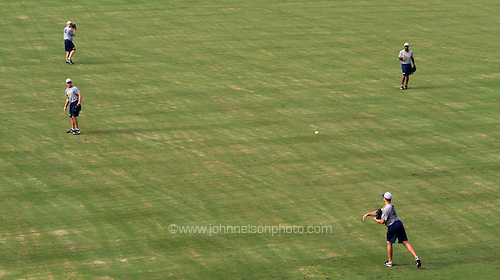 Baseball player for the Jackson Generals do a pre-game workout at Generals Park in Jackson, Tennessee.