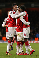 Jack Wilshere of Arsenal (centre) celebrates after he scores his team's third goal of the game to make the score 3-0 during the UEFA Europa League match between Arsenal and FC BATE Borisov  at the Emirates Stadium, London, England on 7 December 2017. Photo by David Horn.