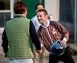 LOUISVILLE, KENTUCKY - MAY 01: Jockey Julien Leparoux greets the owner of Master Fencer, Katsumi Yoshizawa, before exercising the horse for the Kentucky Derby at Churchill Downs in Louisville, Kentucky on May 1, 2019. Scott Serio/Eclipse Sportswire/CSM