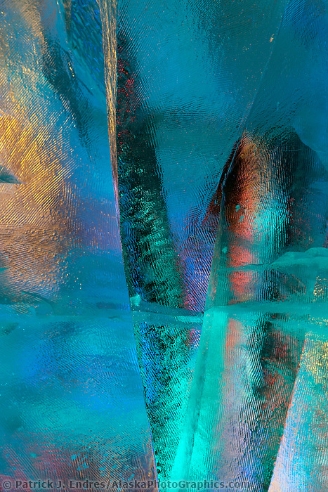 "Detail of single block, abstract sculpture titled ""Spring Spirit"" by Chinese sculptors Wei, Tian Zuo and Zhang, Chen He. 2009 World Ice Art Championships in Fairbanks, Alaska."