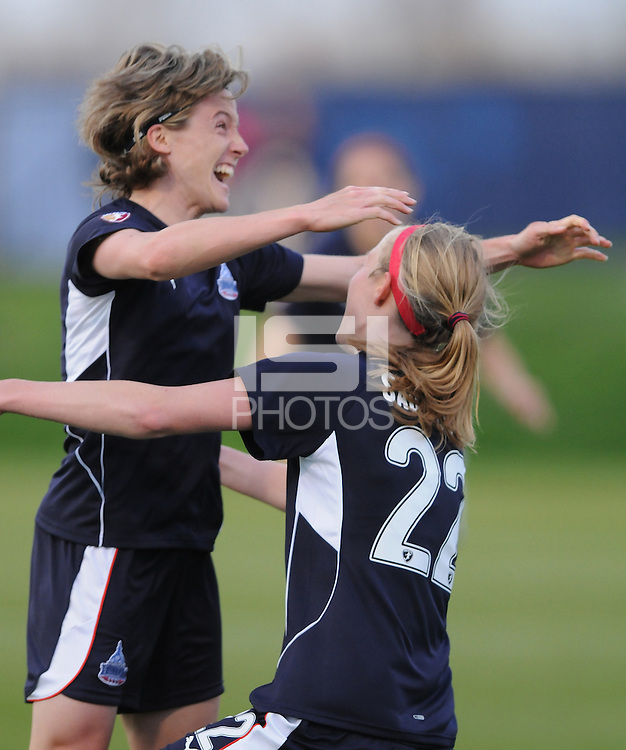 Washington Freedom defender Becky Sauerbrunn (22) celebrates with team mate Sonia Bompastor (8) after scoring  the team firts WPS goal in the 54th minute of the game. Washington Freedom tied Chicago Red Stars 1-1   at The Maryland SoccerPlex, Saturday April 11, 2009.