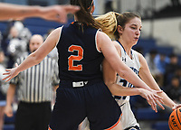 Har-Ber forward Mary Blake Martfeld (20) drives the ball, Friday, February 7, 2020 during a basketball game at Wildcat Arena at Har-Ber High School in Springdale. Check out nwaonline.com/prepbball/ for today's photo gallery.<br /> (NWA Democrat-Gazette/Charlie Kaijo)