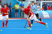 A determined David Ames of England during the Hockey World League Semi-Final match between England and Argentina at the Olympic Park, London, England on 18 June 2017. Photo by Steve McCarthy.