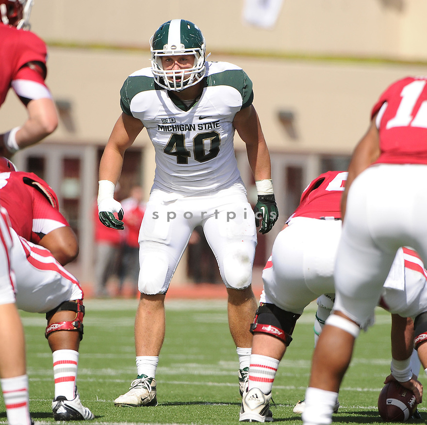 Michigan State Spartans Max Bullough (40) in action during a game against Indiana on October 6, 2012 at Memorial Stadium in Bloomington, IN. Michigan State beat Indiana 31-27.