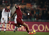 Football, Serie A: AS Roma - Bologna FC, Olympic stadium, Rome, February 18, 2019. <br /> Roma&rsquo;s Aleksandar Kolarov kicks a penalty and scores during the Italian Serie A football match between AS Roma and Bologna FC at Olympic stadium in Rome, on February 18, 2019.<br /> UPDATE IMAGES PRESS/Isabella Bonotto