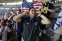 United States Men's National team fans listen to  the chants of Mexican fans before the start of the game at Azteca stadium. The United States Men's National Team played Mexico in a CONCACAF World Cup Qualifier match at Azteca Stadium in, Mexico City, Mexico on Wednesday, August 12, 2009.