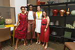 Fashion designer Gina Silva poses with models during the New York School of Design Spring Summer 2018 fashion show presentation at Calligaris on 55 Thompson Street on September 7, 2017 during New York Fashion Week.