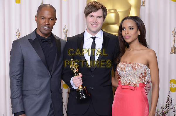 Jamie Foxx, Shawn Christensen, Kerry Washington.85th Annual Academy Awards held at the Dolby Theatre at Hollywood & Highland Center, Hollywood, California, USA..February 24th, 2013.pressroom oscars half length strapless embellished jewel encrusted silver gold pink black blue suit award trophy winner.CAP/ADM/RE.©Russ Elliot/AdMedia/Capital Pictures.
