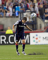 New England Revolution midfielder Chris Tierney (8) heads the ball. The Philadelphia Union defeated New England Revolution, 2-1, at Gillette Stadium on August 28, 2010.