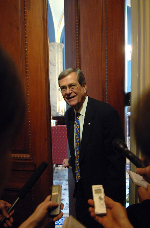 Sen. Trent Lott, R-Miss., talks to reporters after the senate luncheons.