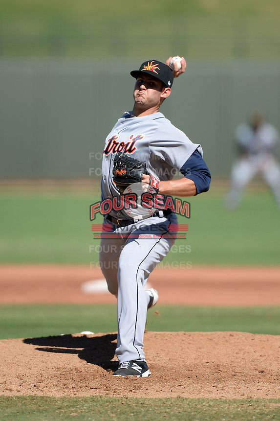 Mesa Solar Sox Pitcher Tommy Collier (53), of the Detroit Tigers organization, during an Arizona Fall League game against the Peoria Javelinas on October 16, 2013 at Surprise Stadium in Surprise, Arizona.  Mesa defeated Peoria 3-1.  (Mike Janes/Four Seam Images)