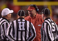 NWA Democrat-Gazette/BEN GOFF @NWABENGOFF<br /> Bret Bielema, Arkansas coach, consults with officials in the second quarter against Mississippi State on Saturday Nov. 21, 2015 during the game in Razorback Stadium in Fayetteville.