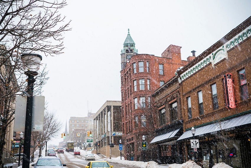 Downtown Marquette, Michigan during a snowstorm.
