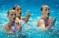 UKR - Ukraine<br /> ANANASOVA Lolita GRECHYKHINA Olena<br /> IUSHKO Daria SABADA Oleksandra<br /> SADURSKA Kateryna SAVCHUK Anastasiya<br /> SYDORENKO Kseniya VOLOSHYNA Anna<br /> Team Free Preliminary<br /> Day5 28/07/2015<br /> XVI FINA World Championships Aquatics<br /> Synchro<br /> Kazan Tatarstan RUS July 24 - Aug. 9 2015 <br /> Photo Pasquale Mesiano/Deepbluemedia/Insidefoto