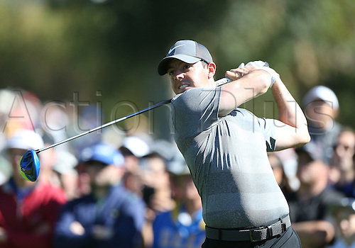 21.02.2016. Pacific Palisades, California, USA.  Rory McIlroy hits a tee shot during the fourth round of the Northern Trust Open at Riviera Country Club in Pacific Palisades, CA.
