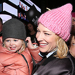 Cate Blanchett and family attends The Ghostlight Project to light a light and make a pledge to stand for and protect the values of inclusion, participation, and compassion for everyone - regardless of race, class, religion, country of origin, immigration status, (dis)ability, gender identity, or sexual orientation at The TKTS Stairs on January 19, 2017 in New York City.