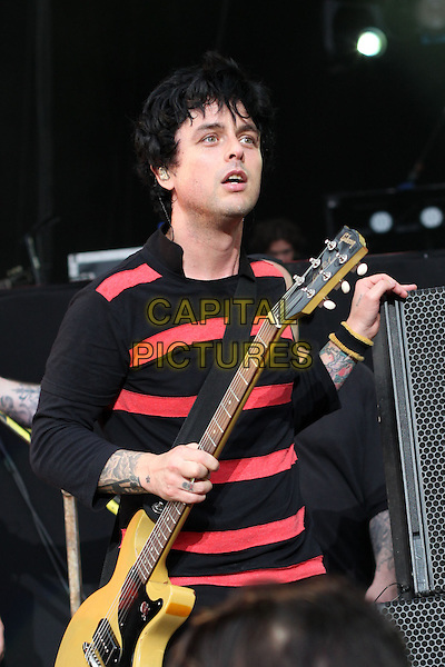 Billy Joel Armstrong of Green Day<br /> Rock The Beach 2013 Festival in Helsinki, Finland, 29th June 2013.<br /> music live on stage concert gig half length red black striped jumper guitar  <br /> CAP/PER/AS<br /> &copy;AS/PersonaStars/CapitalPictures