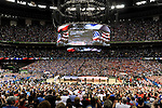31 MAR 2012:  National Anthem prior to the University of Kentucky plays the University of Louisville during the Semifinal Game of the 2012 NCAA Men's Division I Basketball Championship Final Four held at the Mercedes-Benz Superdome hosted by Tulane University in New Orleans, LA. Kentucky defeated Louisville 69-61 to advance to the national final. Brett Wilhelm/ NCAA Photos
