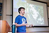 "Donovan Dennis '16, a geology major from Great Falls, Minn., presents his talk in Hameetman Science Center room 202 called, ""The Liberal Arts on Ice: Stories, photos, and lessons from a summer field season with the Juneau Icefield Research Program"" in which he details his summer spent traversing more than 150 miles of the Juneau Icefield, a complex of glaciers stretching from the Alaskan panhandle into British Columbia, to reconstruct ancient temperature and climate records by measuring oxygen and hydrogen isotopes present in samples drawn from the rapidly shrinking glaciers. He shared photos, stories, showed some of the gear he used and his research, plus the benefits a liberal arts education. The talk was on Sept. 18, 2015.<br /> (Photo by Marc Campos, Occidental College Photographer)"