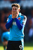 Fleetwood Town's Wes Burns reacts after Blackpool's second goal<br /> <br /> Photographer Richard Martin-Roberts/CameraSport<br /> <br /> The EFL Sky Bet League One - Blackpool v Fleetwood Town - Saturday 14th April 2018 - Bloomfield Road - Blackpool<br /> <br /> World Copyright &not;&copy; 2018 CameraSport. All rights reserved. 43 Linden Ave. Countesthorpe. Leicester. England. LE8 5PG - Tel: +44 (0) 116 277 4147 - admin@camerasport.com - www.camerasport.com